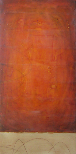 "Rouge,   encaustic on board, 25"" x 13"" framed ,  $850"
