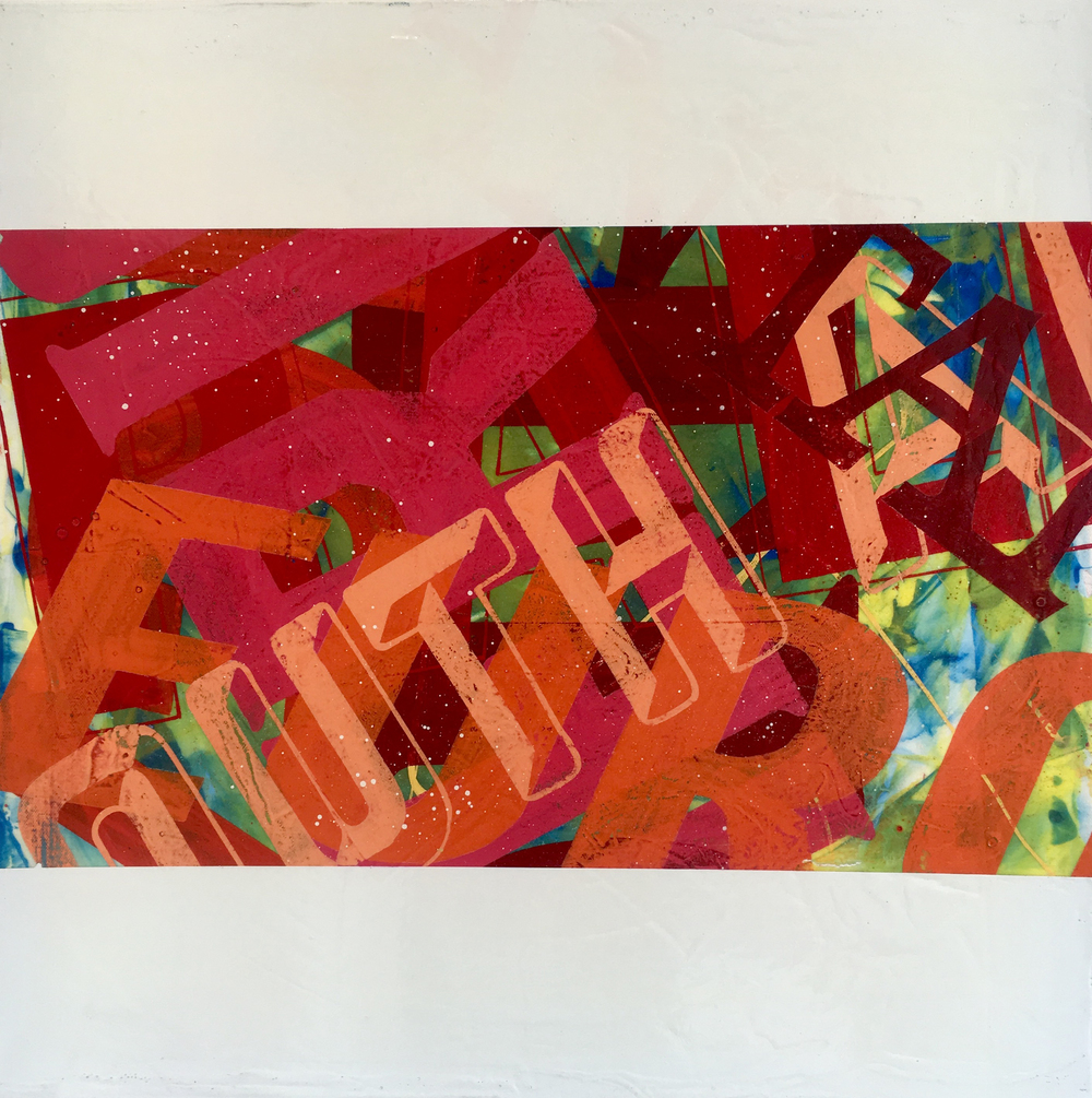 "Kenji Nakayama,  Alphabet Soup #2 , enamel on canvas, 24"" x 24"", $900"