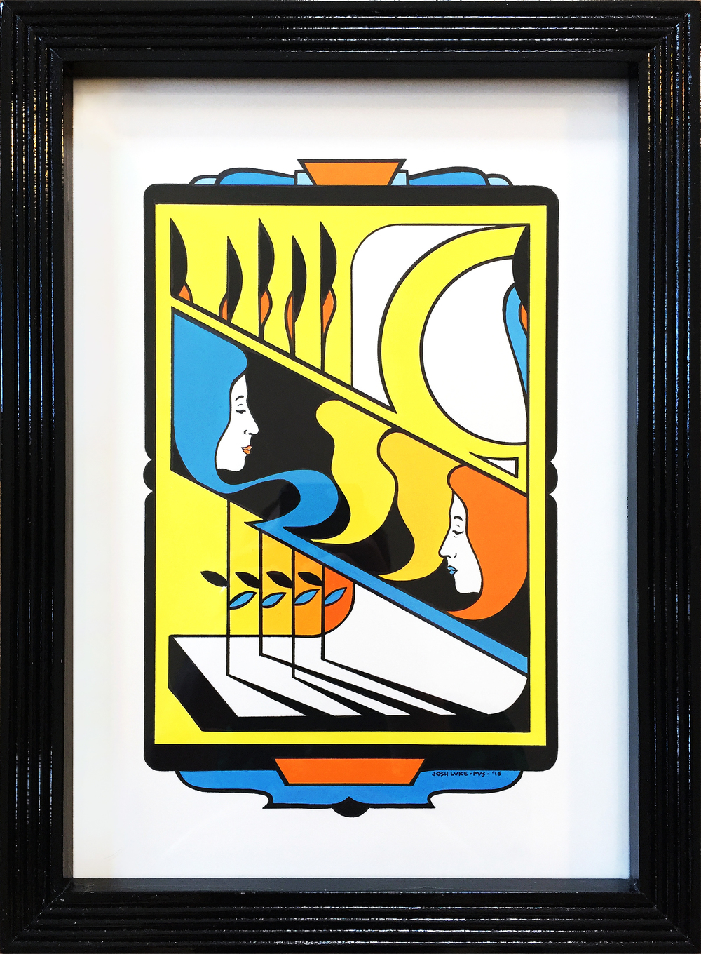 "Josh Luke,  Yellow Book #1 , gouache and marker on watercolor paper with wood frame handmade by artist, 15"" x 11"", $750"