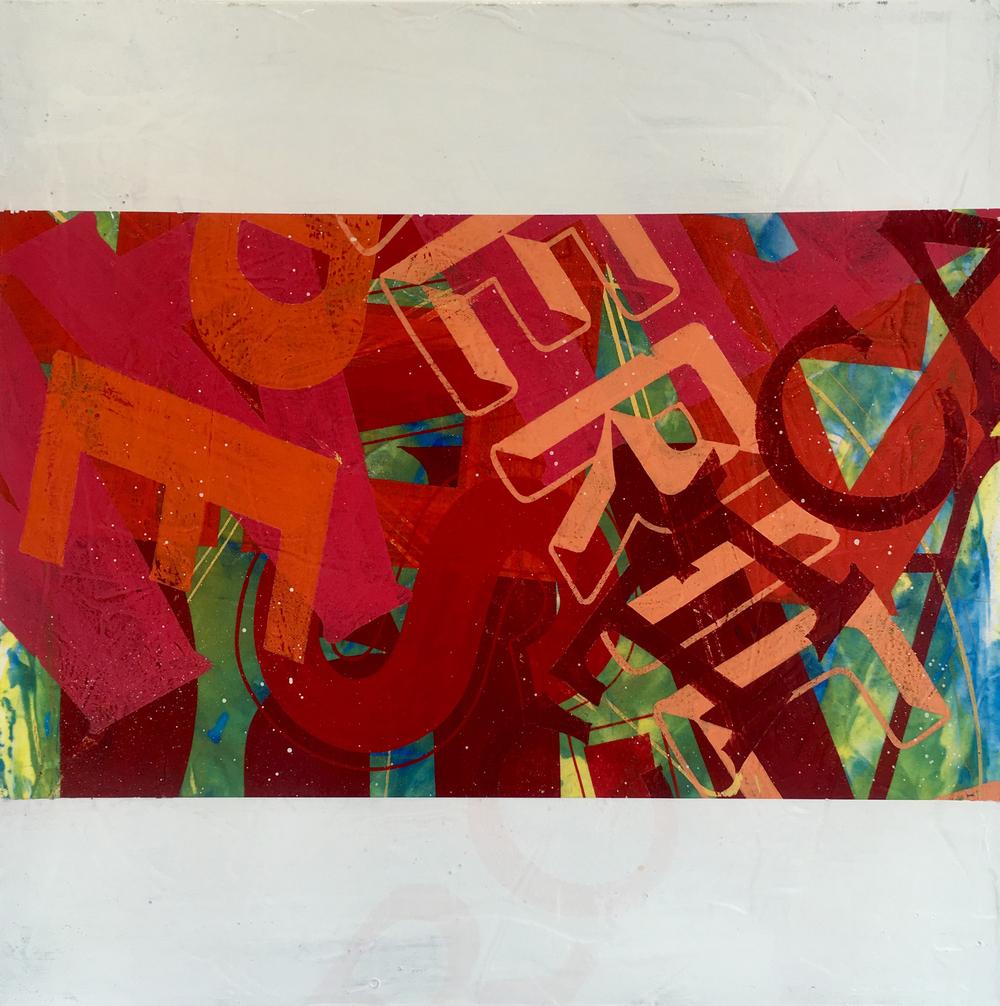 """Alphabet Soup #1 , enamel on canvas, 24"""" x 24"""""""