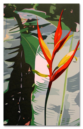 "Heliconia  (4/50), serigraph, 26 1/2"" x 19 1/2"" framed, $500"