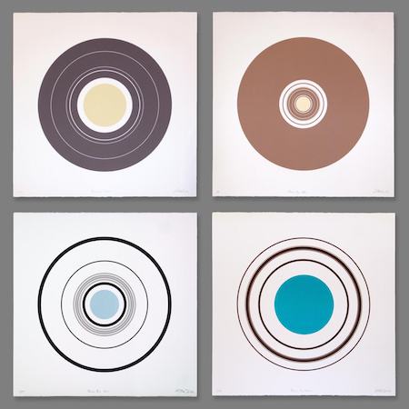 "Planetary Rings , silkscreen on paper, 22"" x 22"" unframed, $400 each; 26"" x 26"" framed, $575 each"