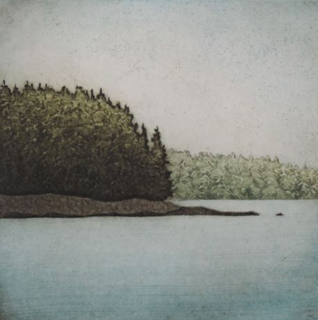 "Spruce Horizon (9/30) , collagraph on paper, 11"" x 11"""