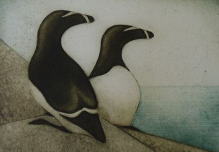 "Razorbills (11/30) , collagraph on paper, 11"" x 11"""