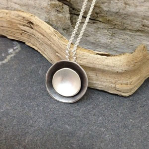 Moon Glow  necklace, blackened sterling silver and fine silver, $130