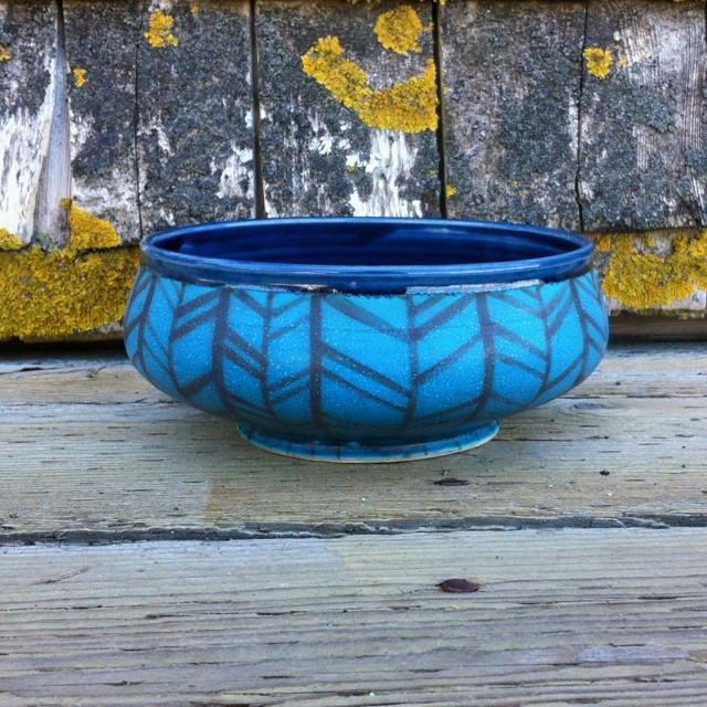 Medium turquoise and navy herringbone low bowl, porcelain, $52