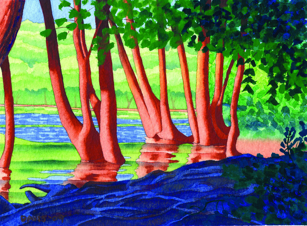 "Trees in the River , watercolor on paper, 5 3/4"" x 8"""