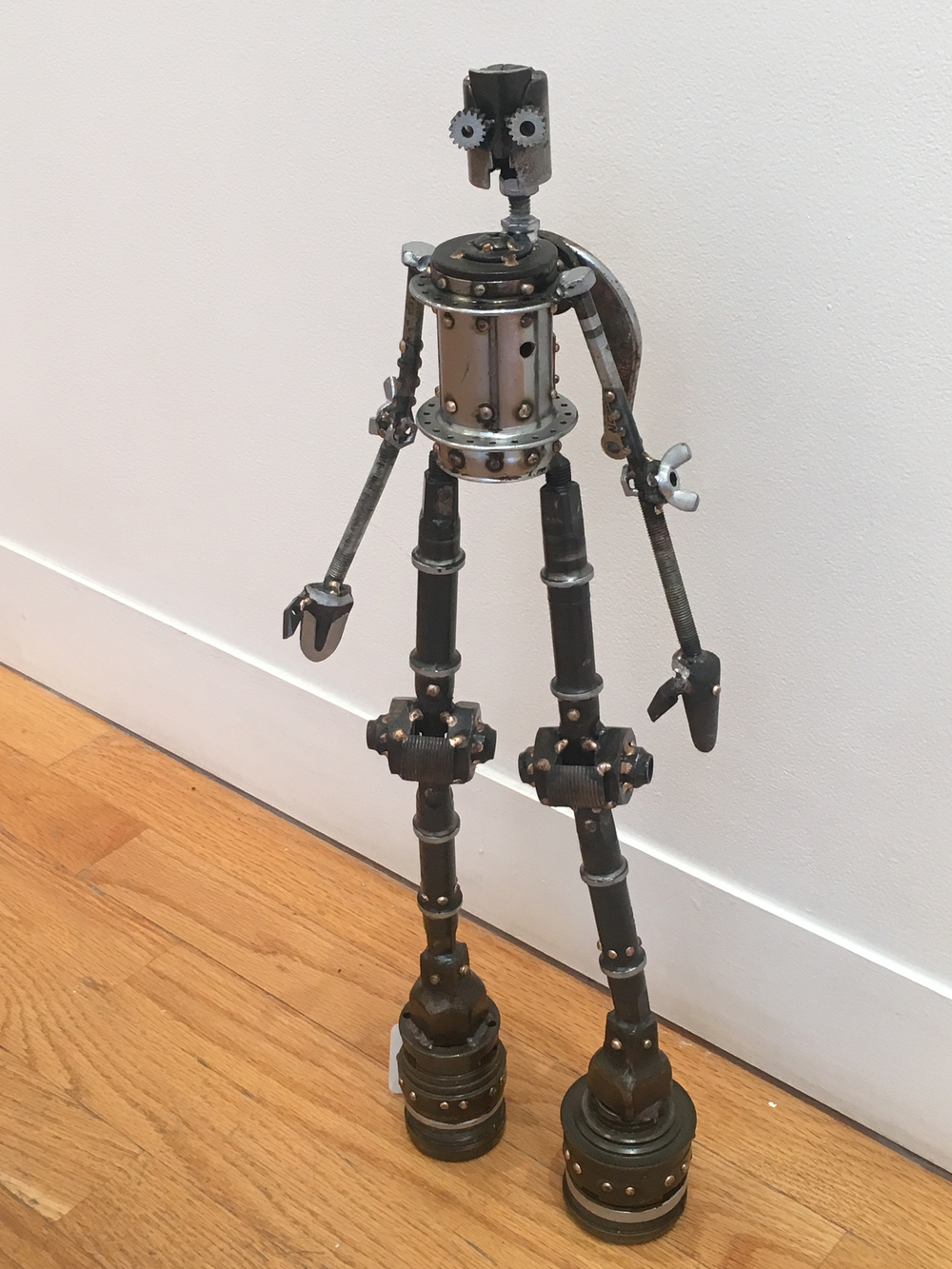 "Kyler #266 , Castillo-class astrobot,bicycle parts,21"" x 7 1/2"" x 5"", $350"