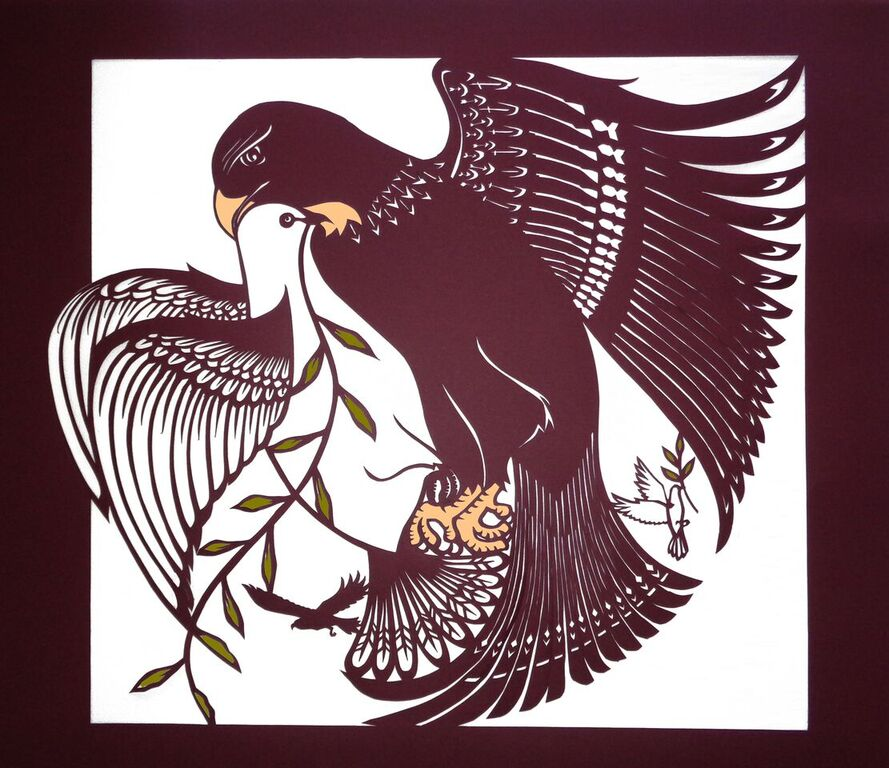 "Dena Bach ,  Hawks and Doves I , handcut paper and gouache, 20"" x 21½"" framed, $600"