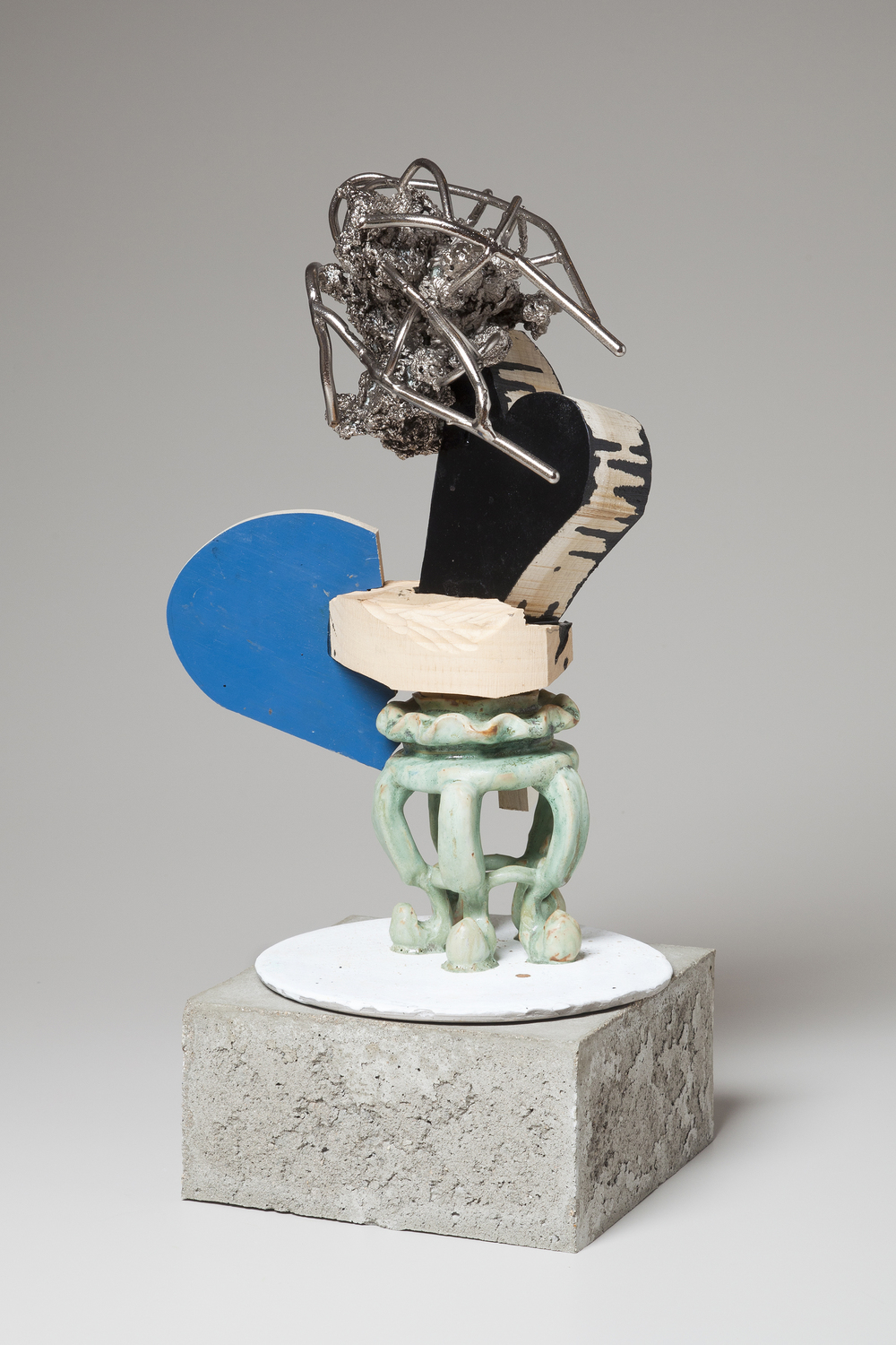 "McMug Crossing the Sea , wood, enamel paint, ceramic and nickel-plated aluminum, 16½"" x 10½"" x 9"" without base, $800"