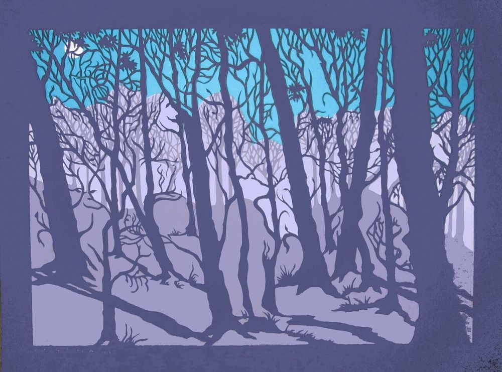 """Can't See the Forest for the Trees II,  handcut paper, 19 ¾ """" x 25 ¾ """" framed ,  $750"""