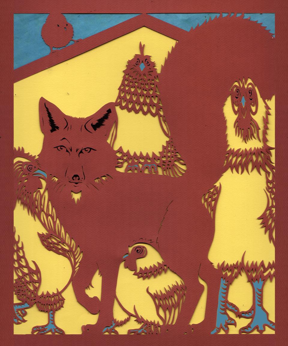 "Fox Guarding the Henhouse I , handcut paper, 19¼"" x 17¼"" framed, $525"