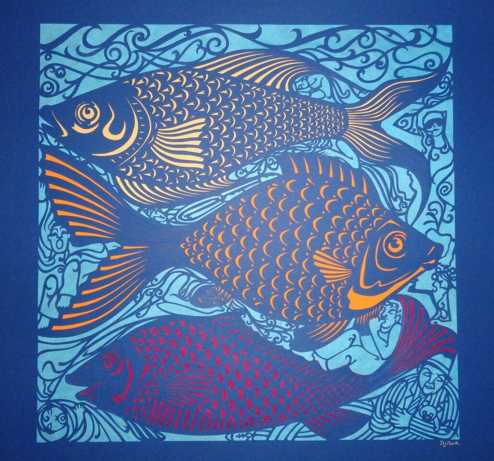 """Sleeping with the Fishes I , handcut paper, 23 ¼"""" x 23¼"""" framed, sold"""