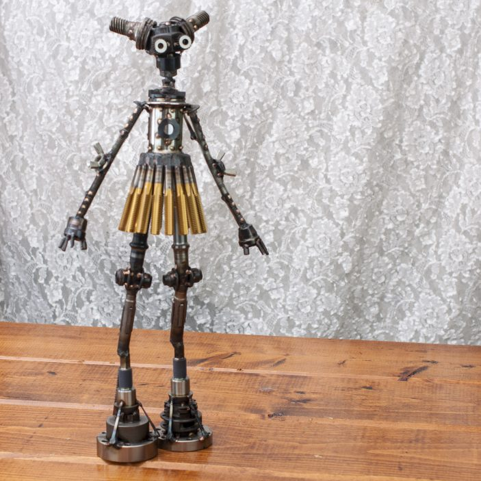 "Margot #279 , Mercury-class astrobot, bicycle parts, titanium nitride taps, machine parts, flooring nails, stainless steel, bronze, copper, 19"" x 10"" x 4"", sold"