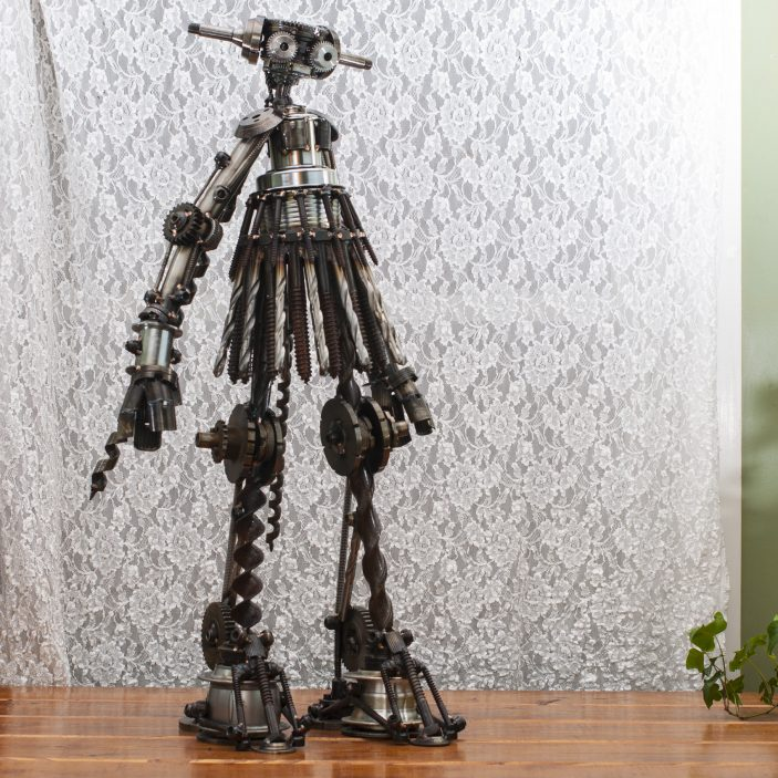 "Phoebe #284 , Jupiter-class astrobot, bicycle parts, gears, drill bits, screws, lag bolts, hardware, stainless steel, bronze, copper, 32"" x 18"" x 14"", $4,000"
