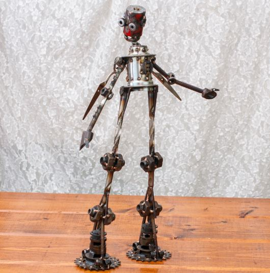 "Bryce #286 , Mercury-class astrobot, bicycle parts, drill bits, screws, nails, machine parts, nuts, stainless steel, bronze, copper, 21"" x 13"" x 4"", sold"