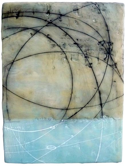 "Lines and Spheres , encaustic and oil on panel, 12"" x 9"", sold"
