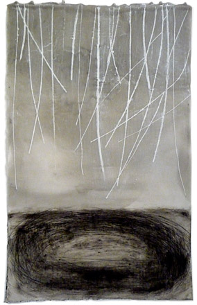 "Gray with Ovals Below , encaustic and oil on paper, 24"" x 18"" framed"