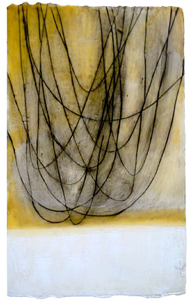 "Yellow with Hanging Lines  , encaustic and oil on paper, 24"" x 18"" framed"