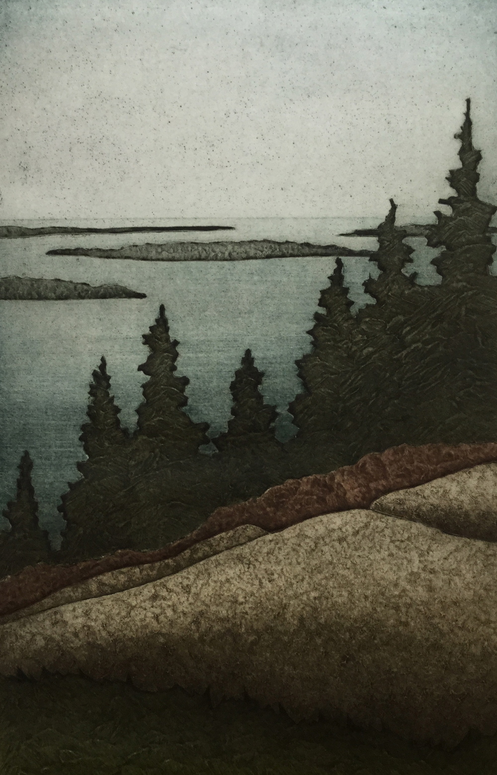 "Island View (11/30) , collagraph on paper, 18"" x 14"", $300"