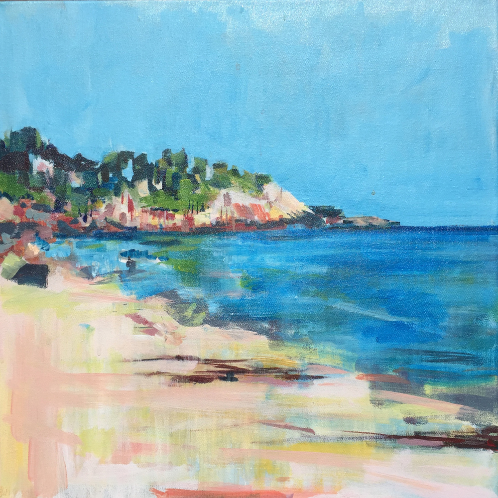"Singing Beach, Manchester-by-the-Sea , acrylic on canvas, 18"" x 18"", sold"
