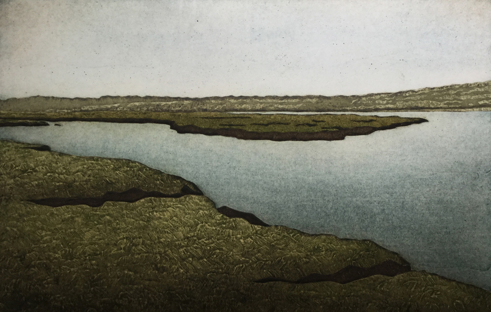 "Kathleen Buchanan ,  Lacken Salt Marsh (5/30) , collagraph on paper, 18 1/4"" x 22 1/4"" framed, $450"