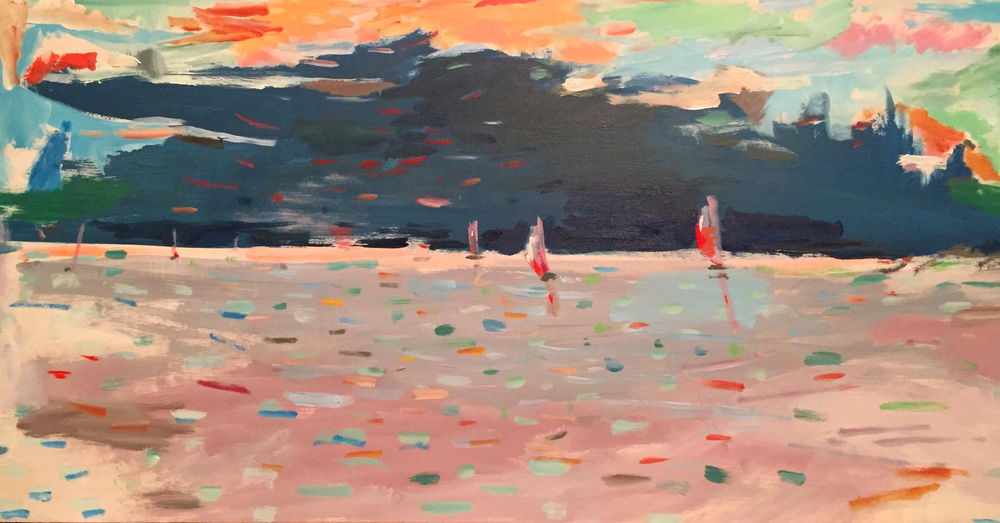 "Marco Athié ,  Regatta on Buzzards Bay,  acrylic on canvas, 12 1/2"" x 24 1/2"" framed, $600"