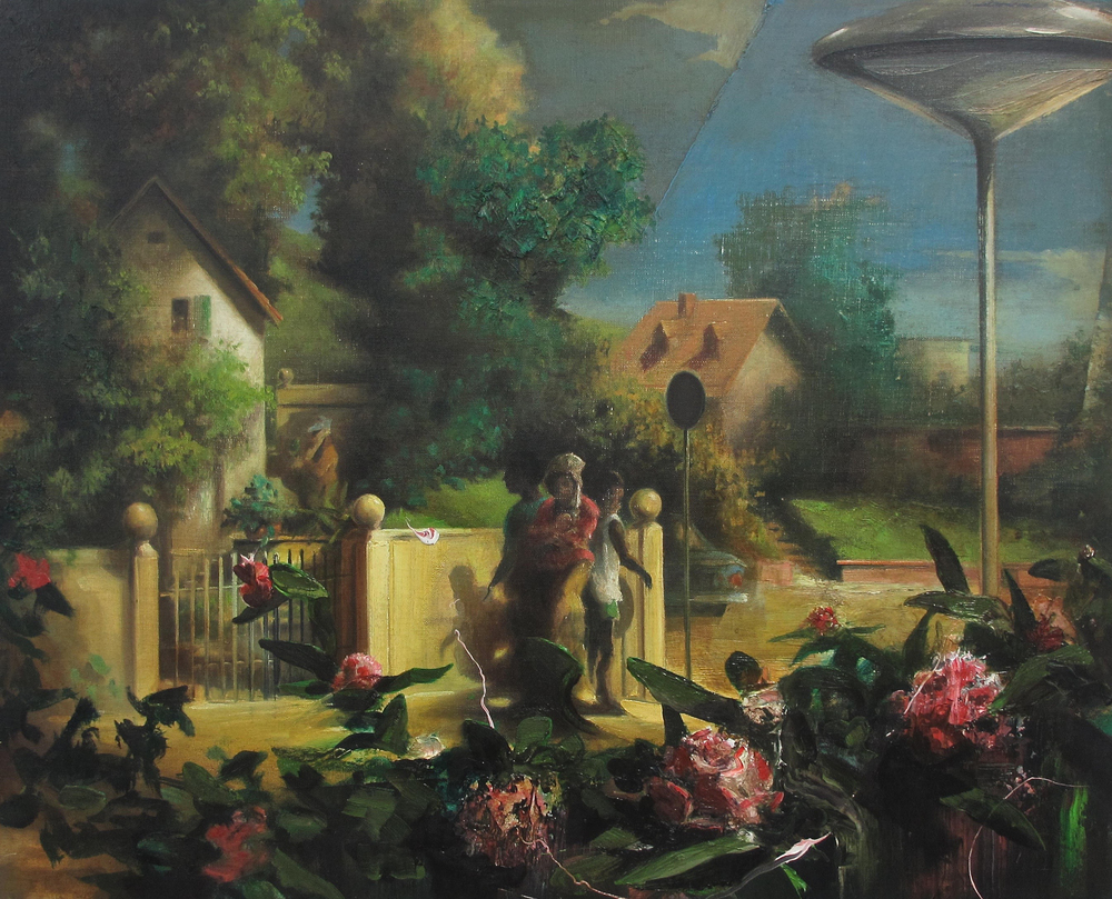 "Eine Dorfszene (Scene from a Village) , oil on canvas, 24"" x 30"", sold"
