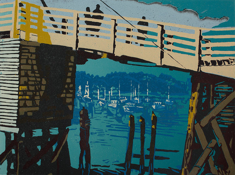"Timbers and Masts (3/22) , reduction linoleum print on paper, 15 1/4"" x 18 1/4"" framed, $525. Also available unframed, $400."