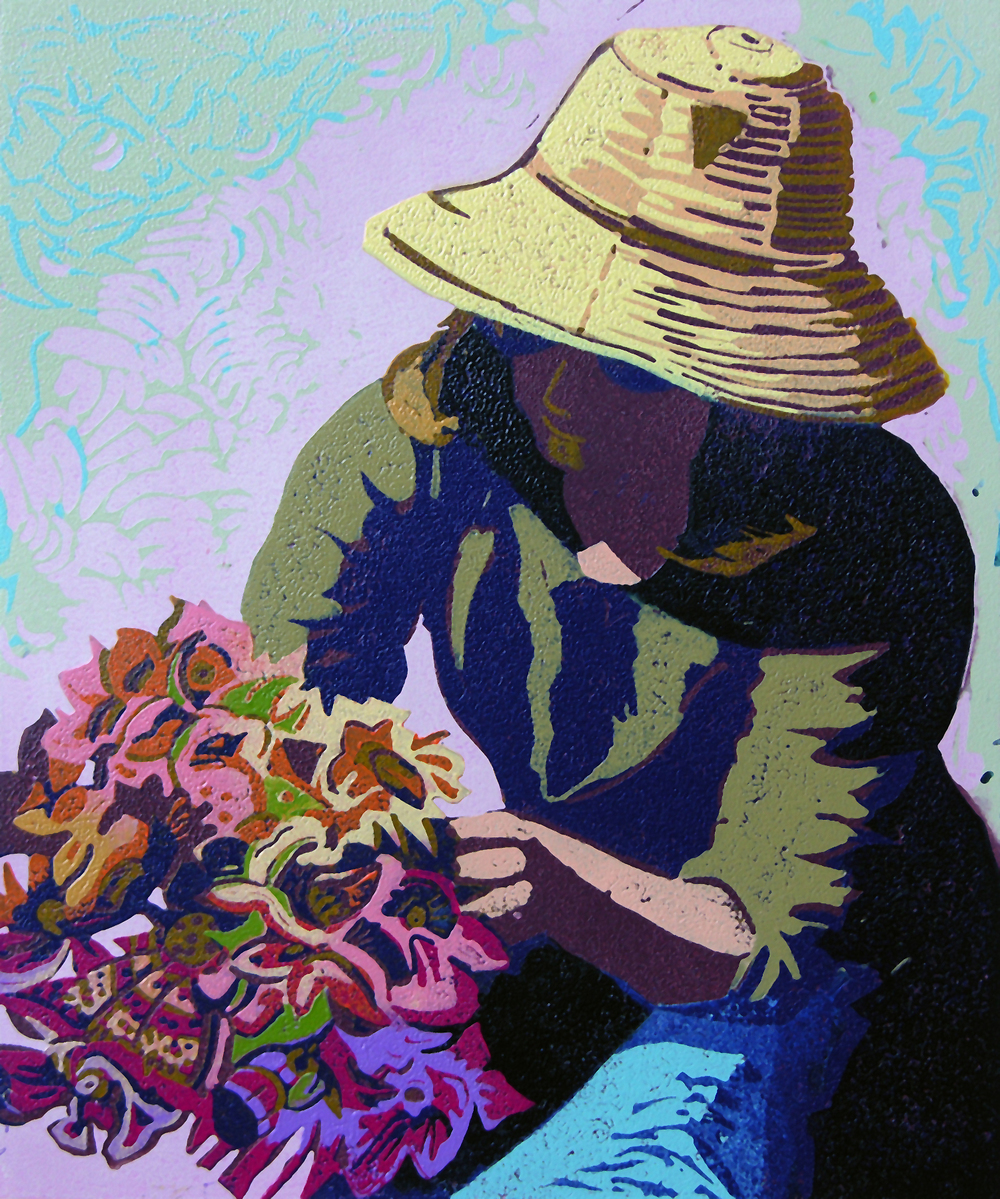 "Appleton's Bouquet (7/13) , reduction linoleum print on paper, 17 3/4"" x 14 1/4"" sheet size, $500"
