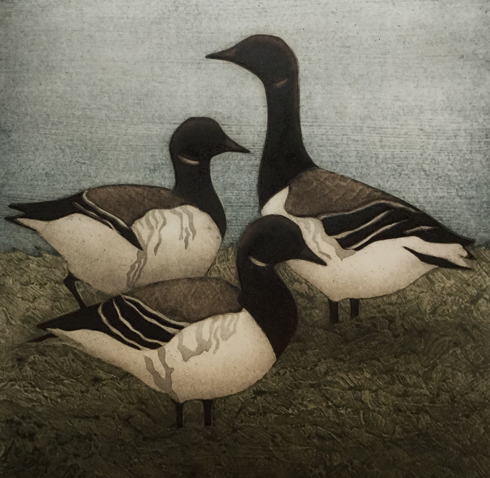 "Brent Geese , collagraph on paper, 17 1/2"" x 15"", $325"