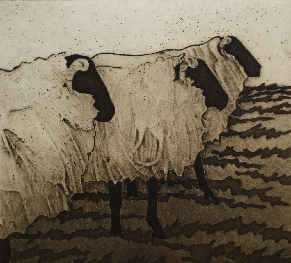"Mountain Flock , collagraph on paper, 14 1/4"" x 11 3/4"", $150"