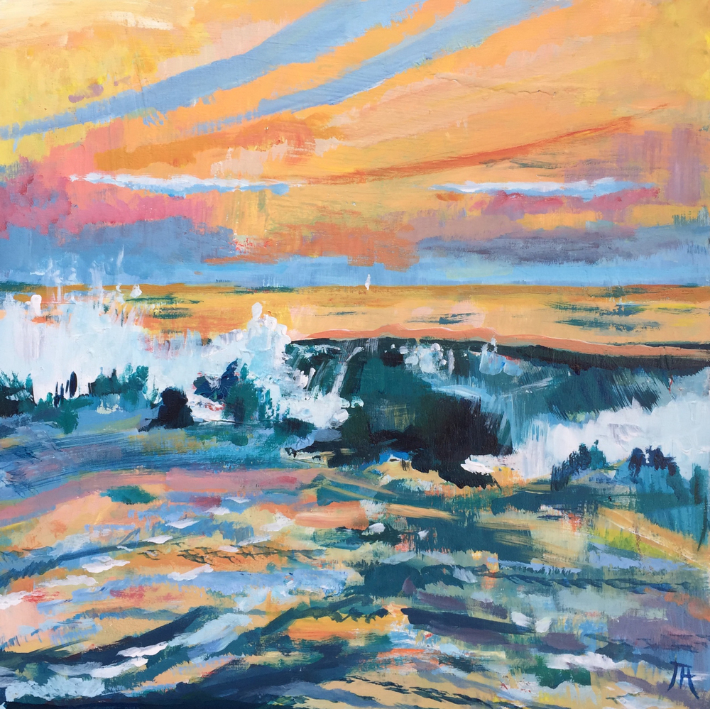 "Sunset Breakers, July 3rd , acrylic on panel, 12"" x 12"", $450"