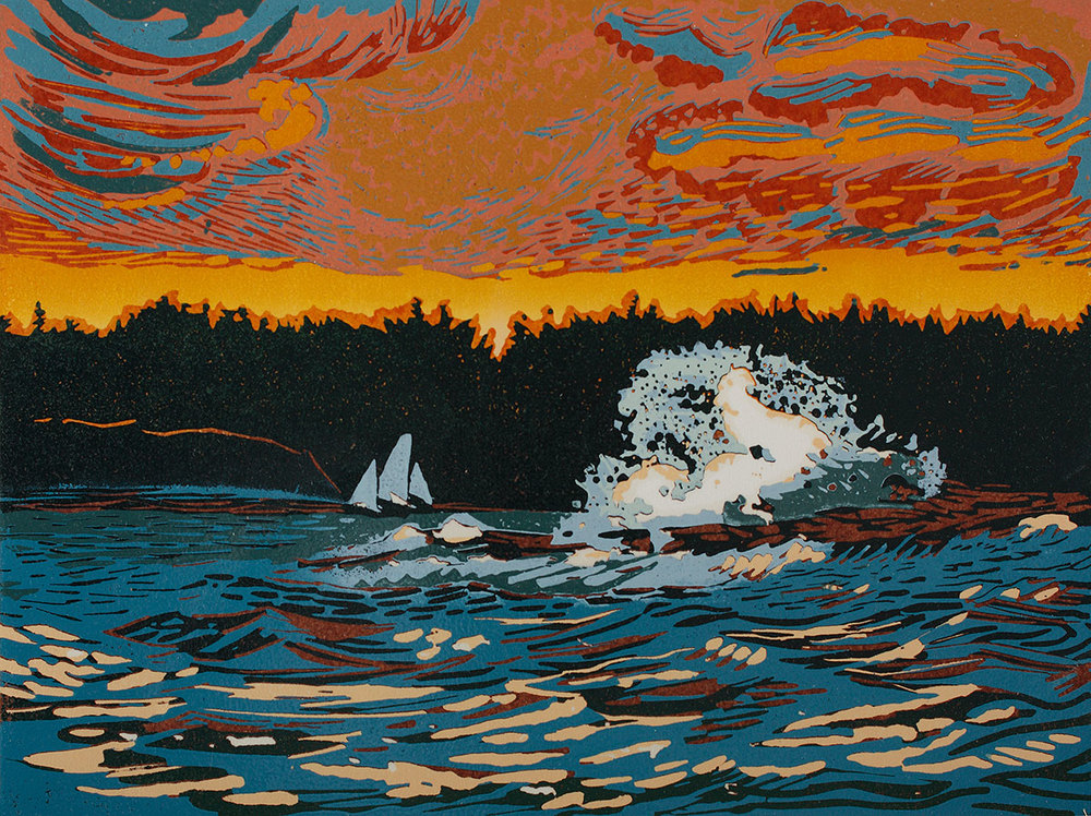 "Coastal Forces at Sunset (1/20) , reduction linoleum print on paper, 9"" x 12"" image size, $400 (last available print)"