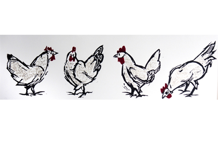 "Three Hens and a Rooster (8/9) , reduction linoleum print on paper, 11 1/4"" x 28 1/4"", $225"