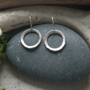Simple hammered circle  earrings, hammered silver, $58