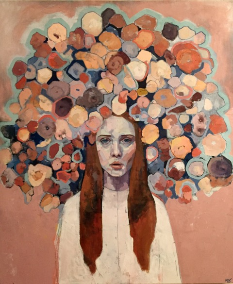 "Mia Cross ,  Oleg's Flowers , oil, acrylic, colored pencil and chalk on canvas, 43"" x 36"", $1,800"