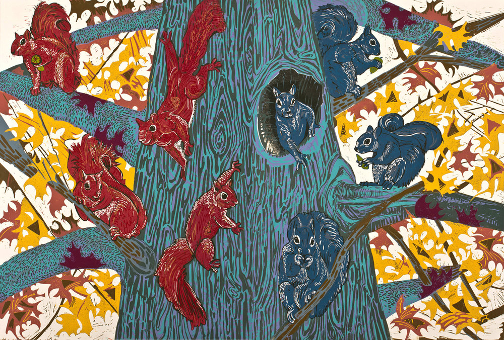 "Red Squirrels, Blue Squirrels (3/4) , reduction linoleum print on paper (diptych), 32"" x 45"", $2,700"
