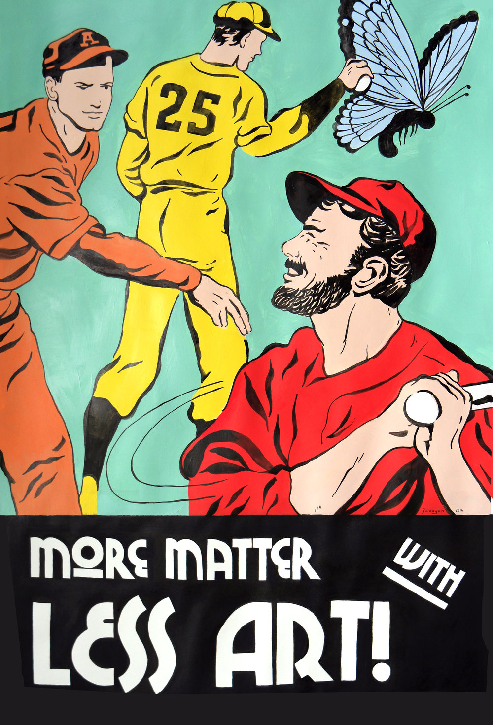 "More Matter, Less Art! , gouache, acrylic and ink on paper, 34"" x 25 1/4"" framed, $1,000"