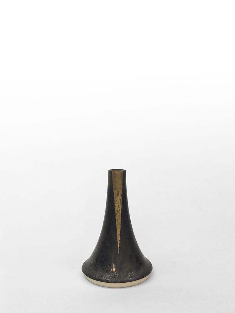 "Volcano Vase (Dark Grey Beam), wheel-thrown glazed porcelain with gold luster design, 4 1/2"" x 3"" x 3"""