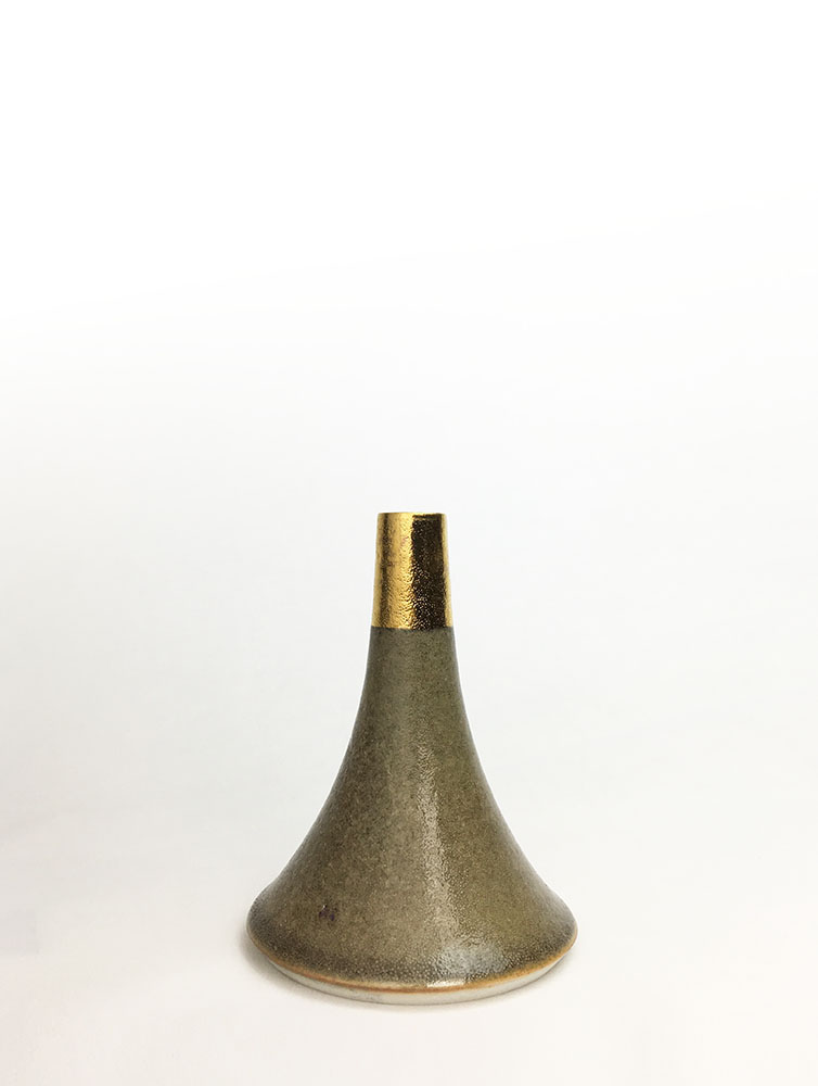 "Volcano Vase (Light Grey Gold Cap), wheel-thrown glazed porcelain with gold luster design, 6 1/4"" x 4 3/4"" x 4 3/4"""