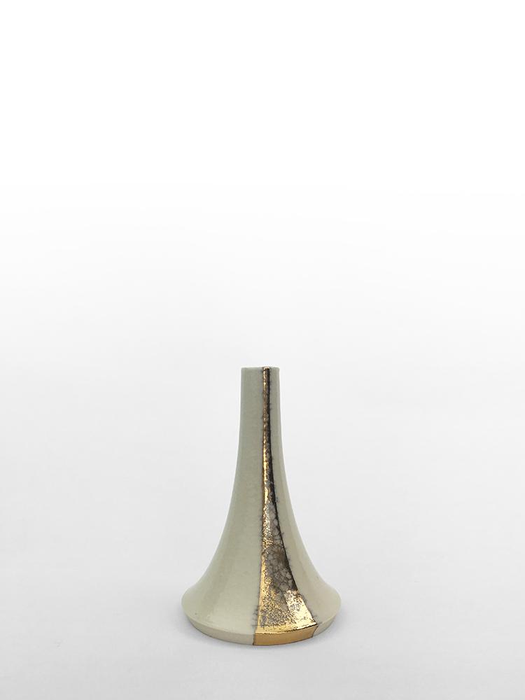 "Volcano Vase (White Fall), wheel-thrown glazed porcelain with gold luster design, 5"" x 3"" x 3"""
