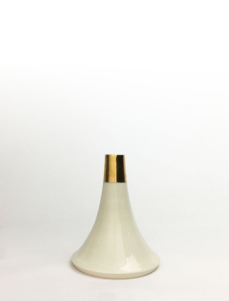 "Volcano Vase (White Gold Cap), wheel-thrown glazed porcelain with gold luster design, 5"" x 4"" x 4"""