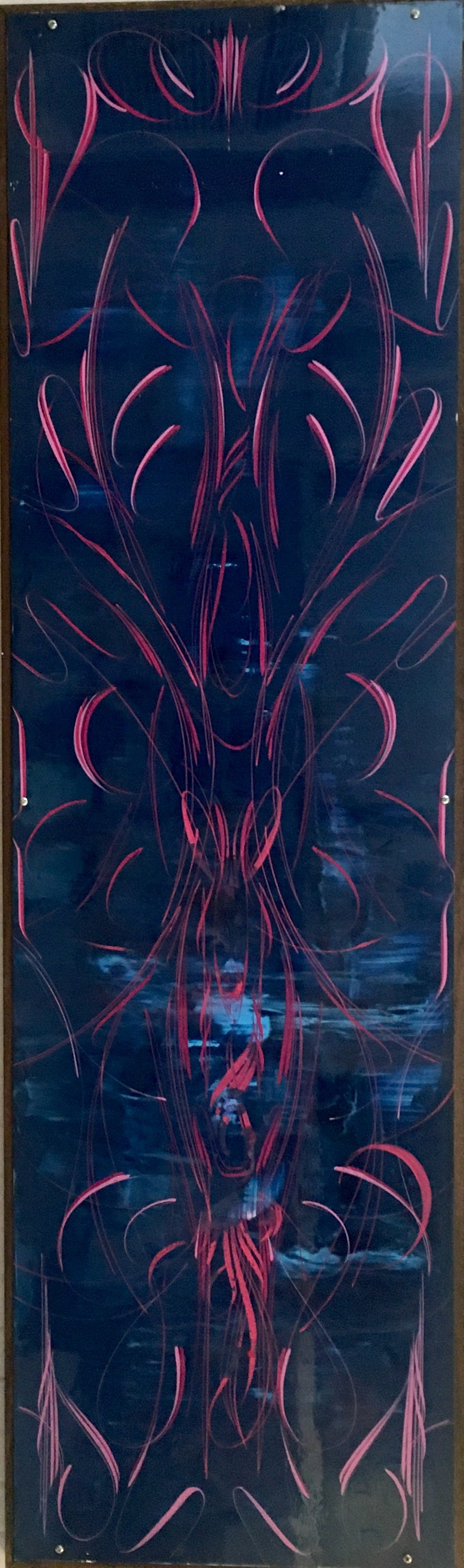 "Fireworks,   enamel on aluminum, 48½"" x 14½"",   sold"