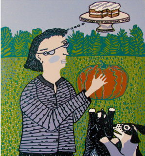"Pumpkin Cake (9/17) , reduction linoleum print on paper, 29"" x 22 1/2"", $400"