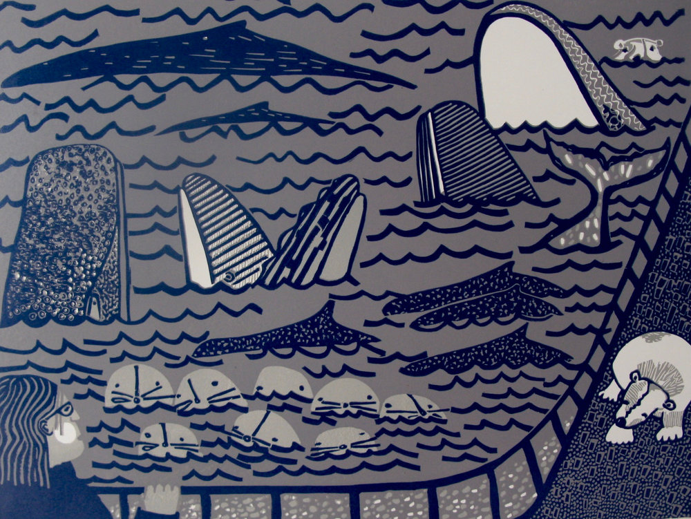 "My Tsunami Dream (5/10) , reduction linoleum print on paper, 26"" x 32"" framed, $700"