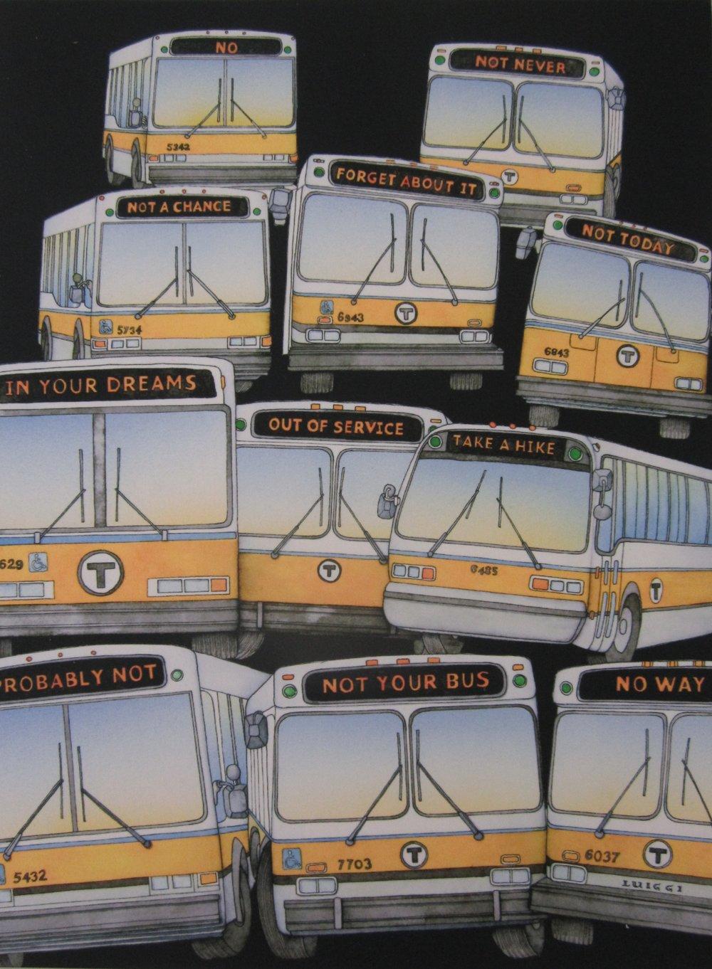 "Commuter's Lament , digital print of original watercolor illustration, 15"" x 12"" framed, $235,  14"" x 11"" unframed, $130"