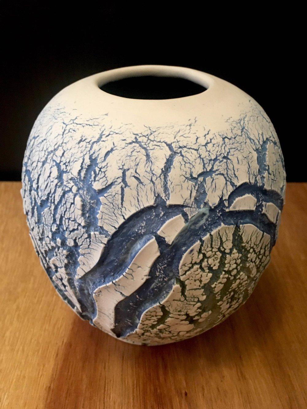"Large waterfall vase, hand-formed porcelain, 6"" x 5"" diameter, $125"