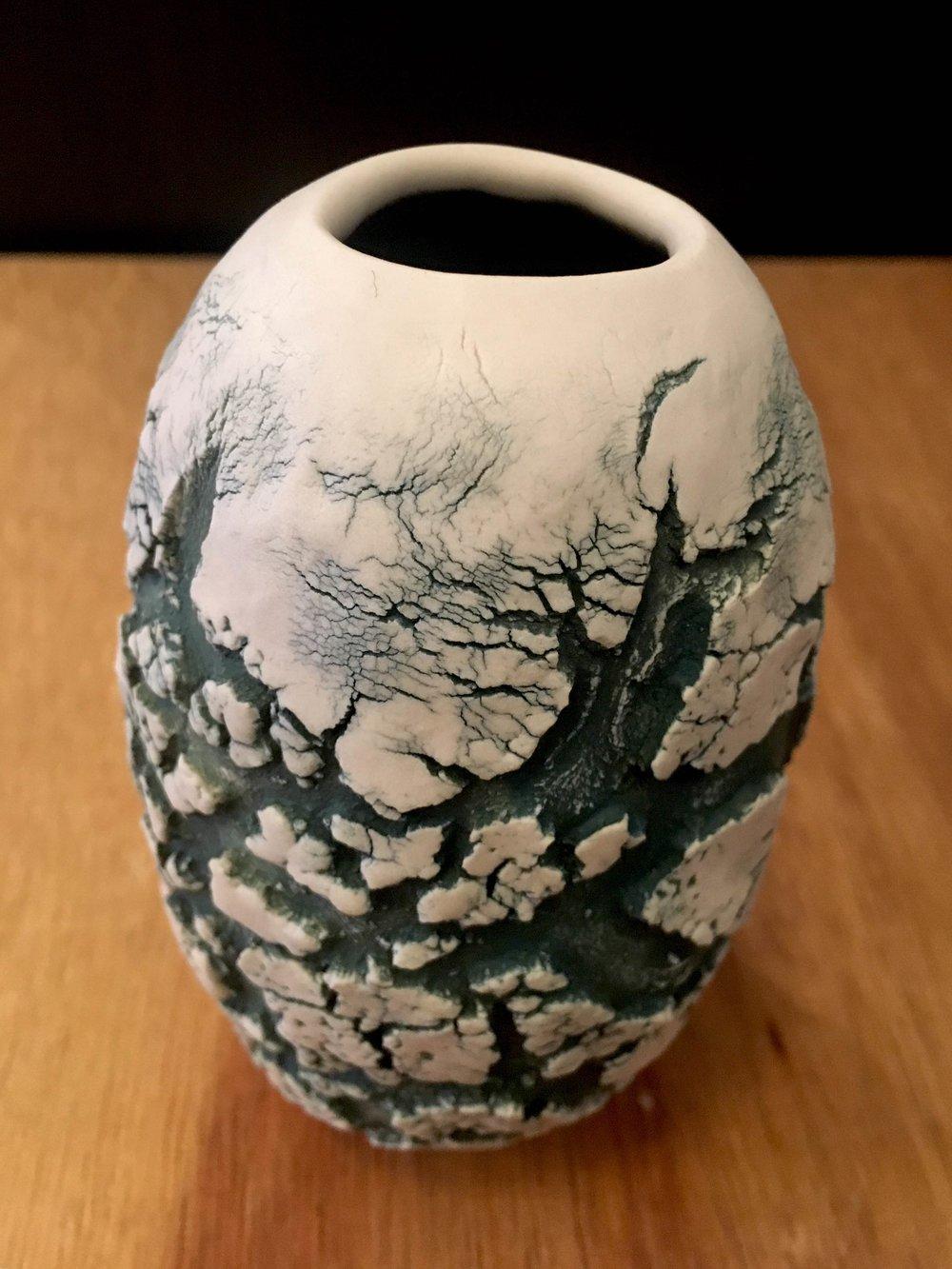 "Small hand-formed porcelain vase, 5"" x 3"" diameter, sold"