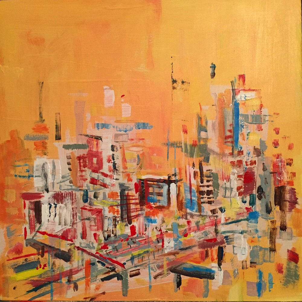 "Marco Athié ,  Hot Day on the High Line, NYC , acrylic on panel, 10"" x 10"", sold"